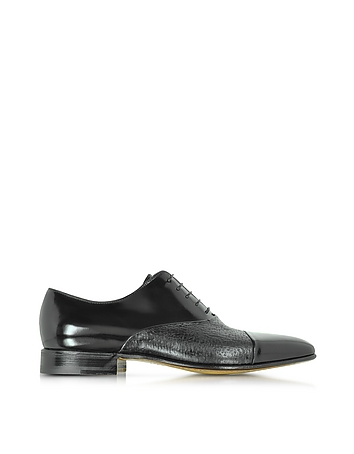 Digione Black Peccary and Calf Leather Oxford Shoes