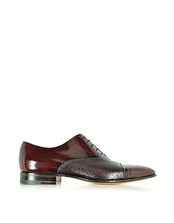 Digione Burgundy Peccary and Calf Leather Oxford Shoes