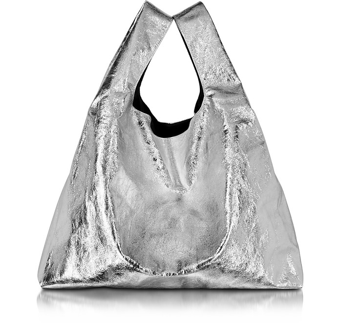 Silver Laminated Eco Leather Tote - MM6 Maison Martin Margiela