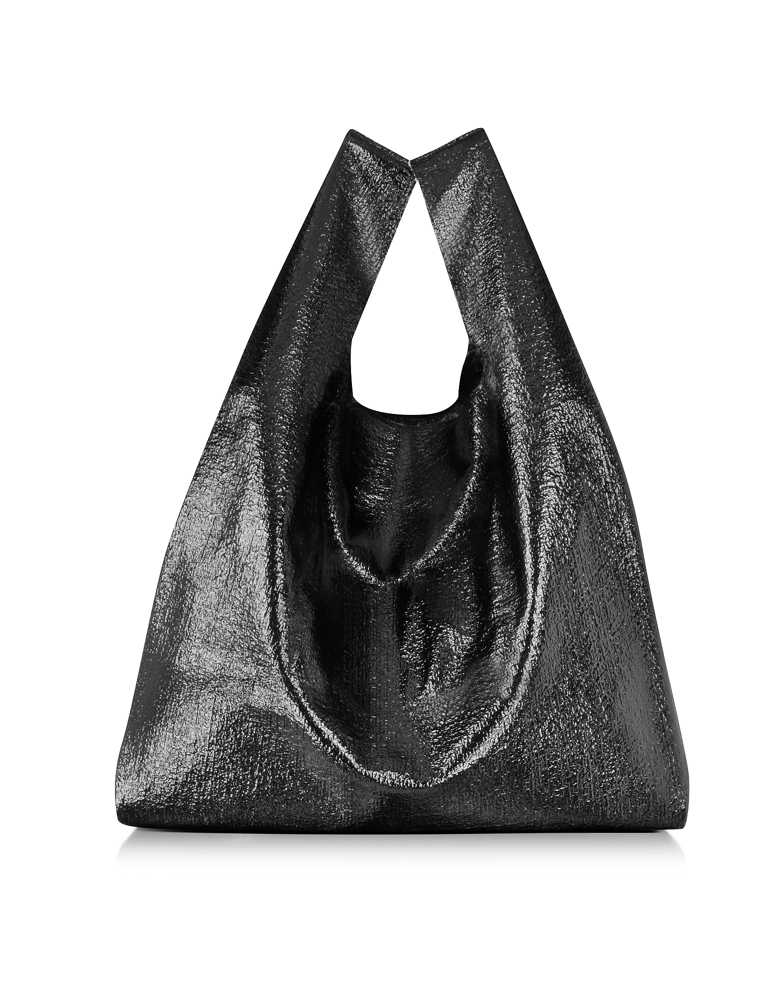 Market Bag in Eco Pelle Nera Glossy
