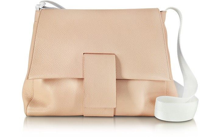Nude Grainy Leather Shoulder Bag w/Canvas Strap - MM6 Maison Martin Margiela