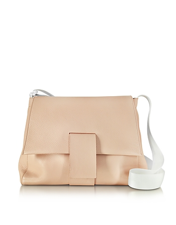 Nude Grainy Leather Shoulder Bag w/Canvas Strap