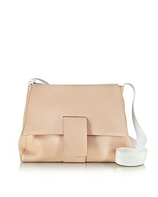 Nude Grainy Leather Shoulder Bag w/Canvas Strap - MM6 Maison Martin Margiela