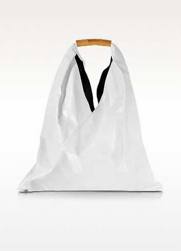 White Distressed Leather Japanese Tote - MM6 Maison Martin Margiela