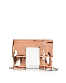 Rose Gold Laminated Eco Leather Clutch w/Chain Strap - MM6 Maison Martin Margiela