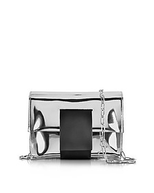 Silver Laminated Eco Leather Clutch w/Chain Strap - MM6 Maison Martin Margiela