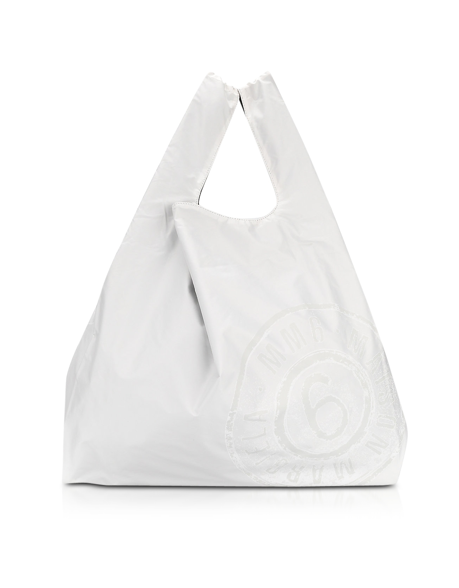 Market Bag - Двухсторонняя Белая и Черная Сумка из Нейлона с Логотипом