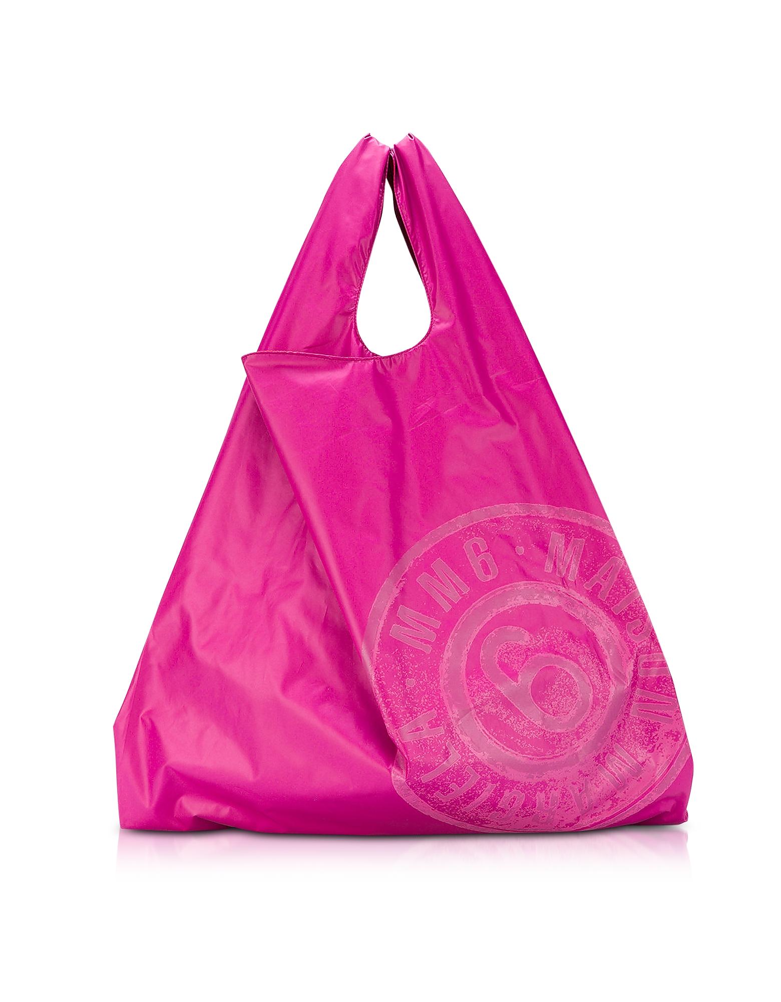 Market Bag - Двухсторонняя Розовая и Красная Сумка из Нейлона с Логотипом