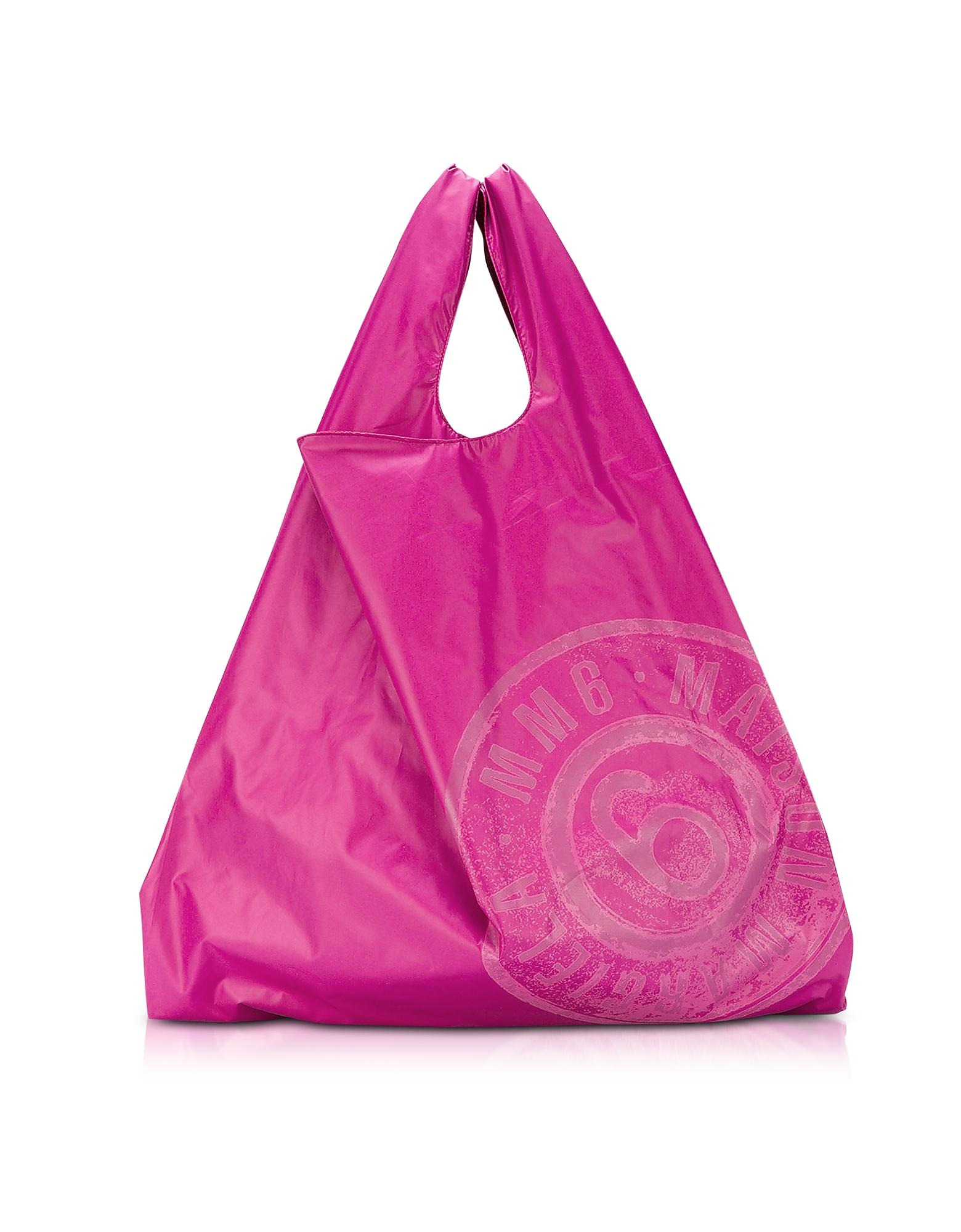 Shopper Double Face in Nylon Red&Pink con Logo