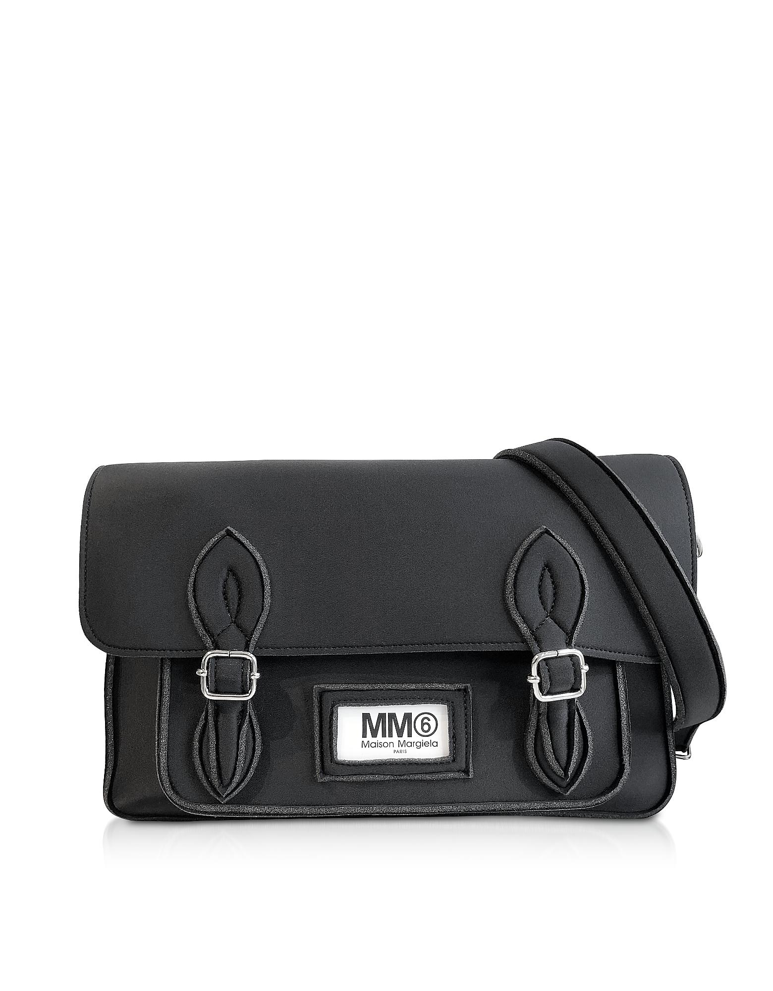 Large Black Neoprene Messenger Bag