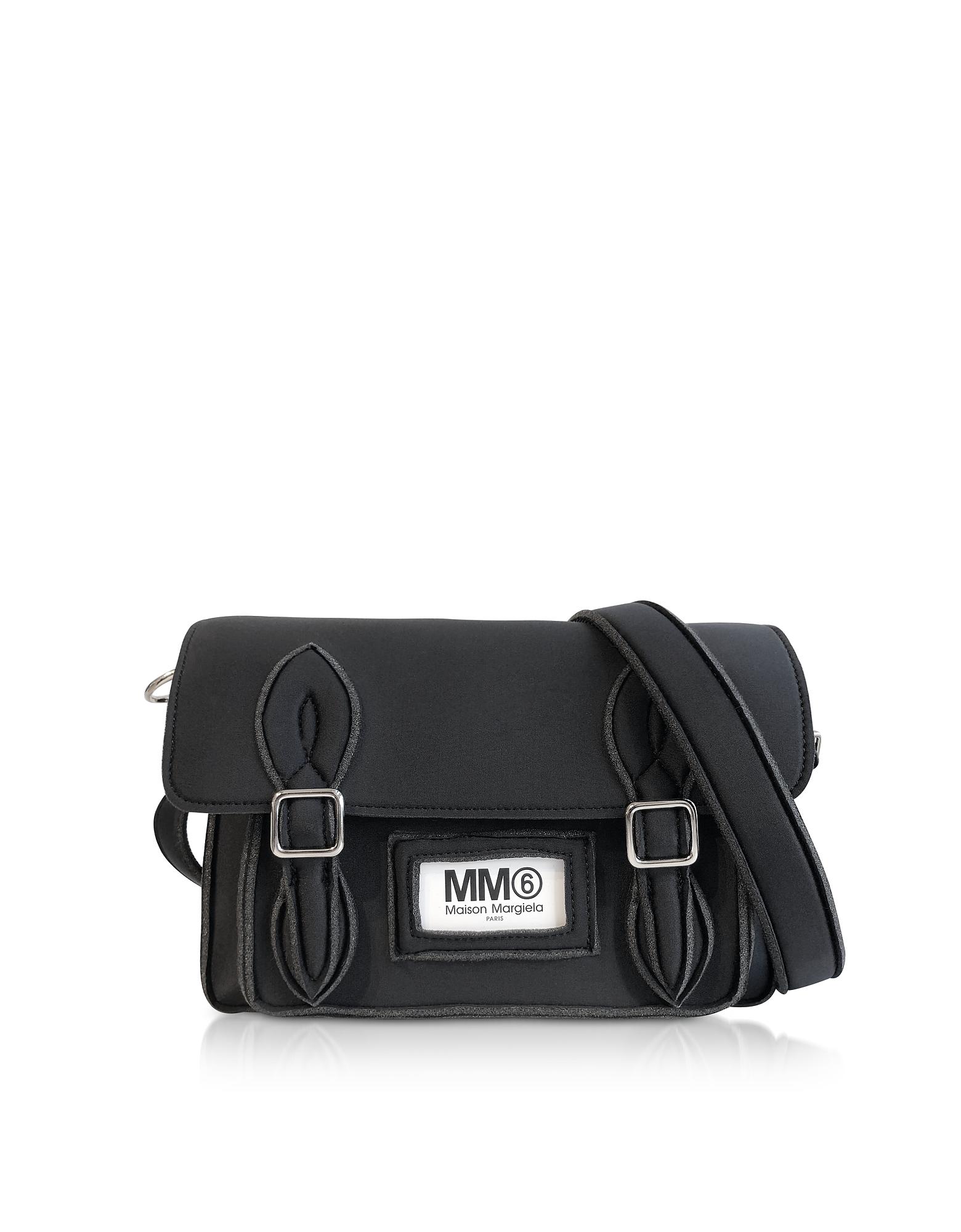 Medium Black Neoprene Messenger Bag