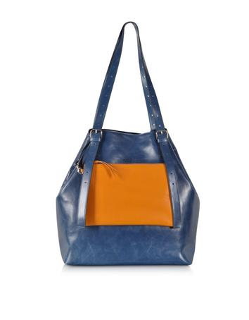 Blue and Orange Leather Shoulder Bag