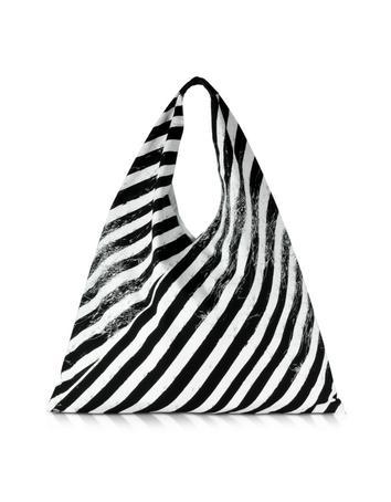 MM6 Maison Martin Margiela Black And White Diagonal Stripe Canvas Triangle Bag