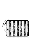 MM6 Maison Martin Margiela Clutch in Eco Pelle a Righe Black&White - mm6 maison martin margiela - it.forzieri.com