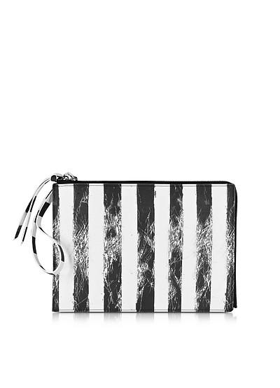 Black and White Striped Clutch - MM6 Maison Martin Margiela