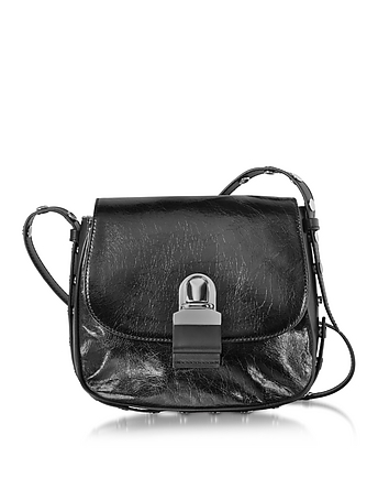 MM6 Maison Martin Margiela - Black Cracked Leather Shoulder Bag