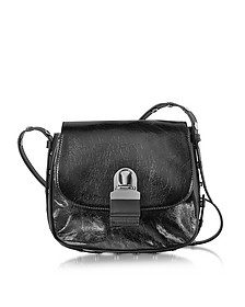 Black Cracked Leather Shoulder Bag - MM6 Maison Martin Margiela