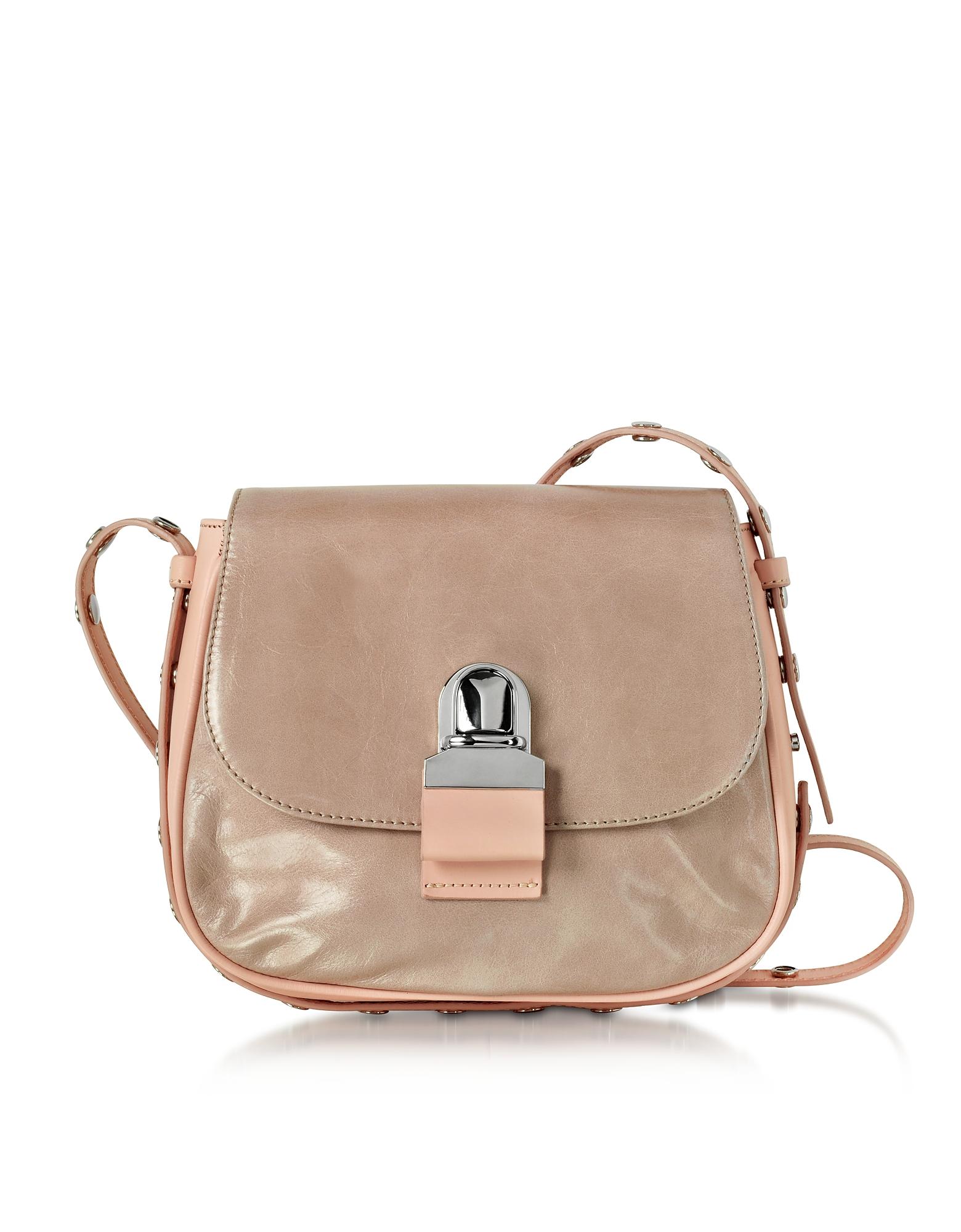 MM6 Maison Martin Margiela Handbags, Pink Cracked Leather Shoulder Bag