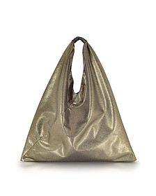 Light Gold Glitter Foil and Black Eco Leather Japanese Tote - MM6 Maison Martin Margiela