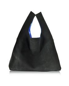 Black Suede/Electric Blue Laminated Leather Tote Bag - MM6 Maison Martin Margiela