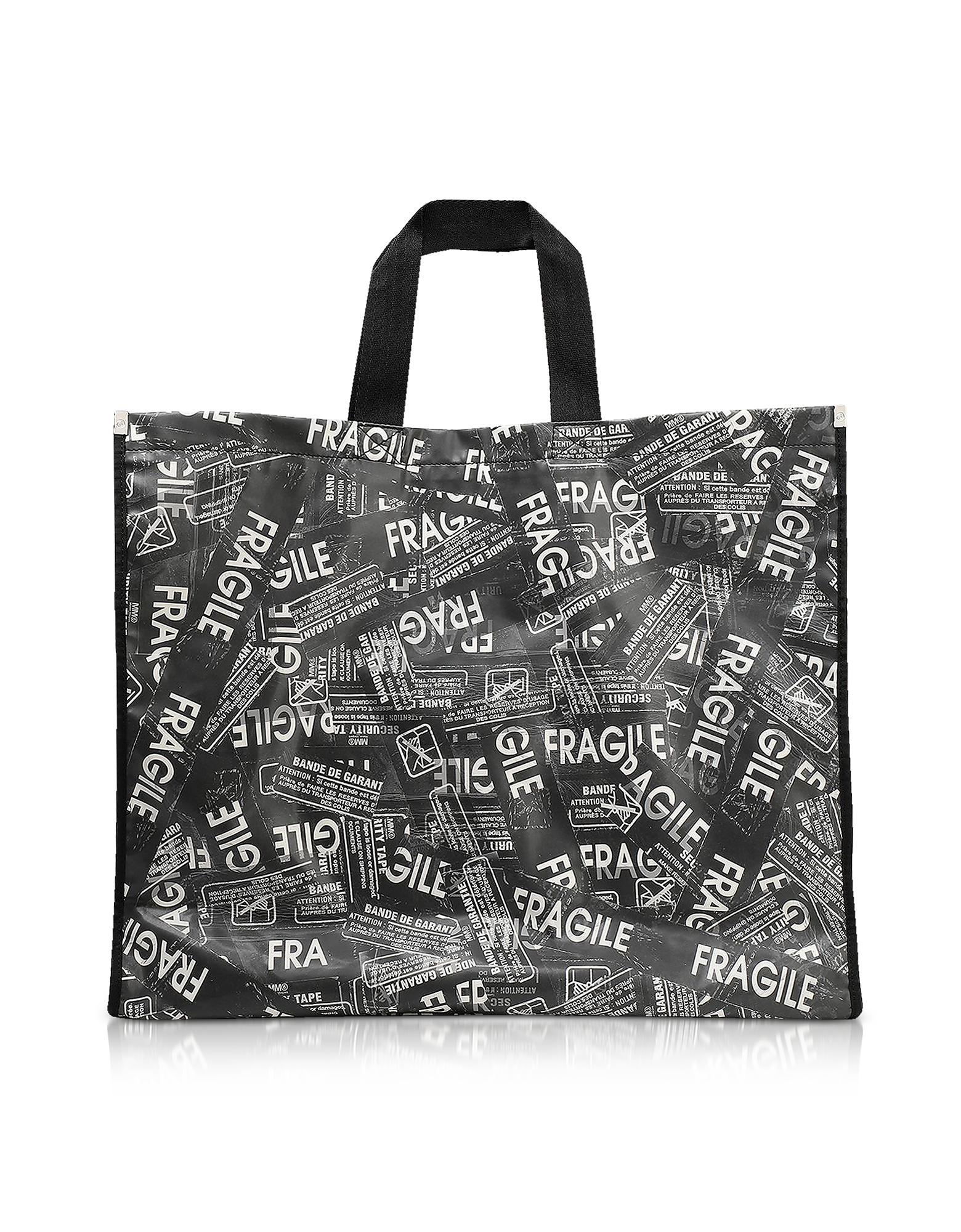 MM6 Maison Martin Margiela Designer Handbags, Fragile Printed Tote Bag