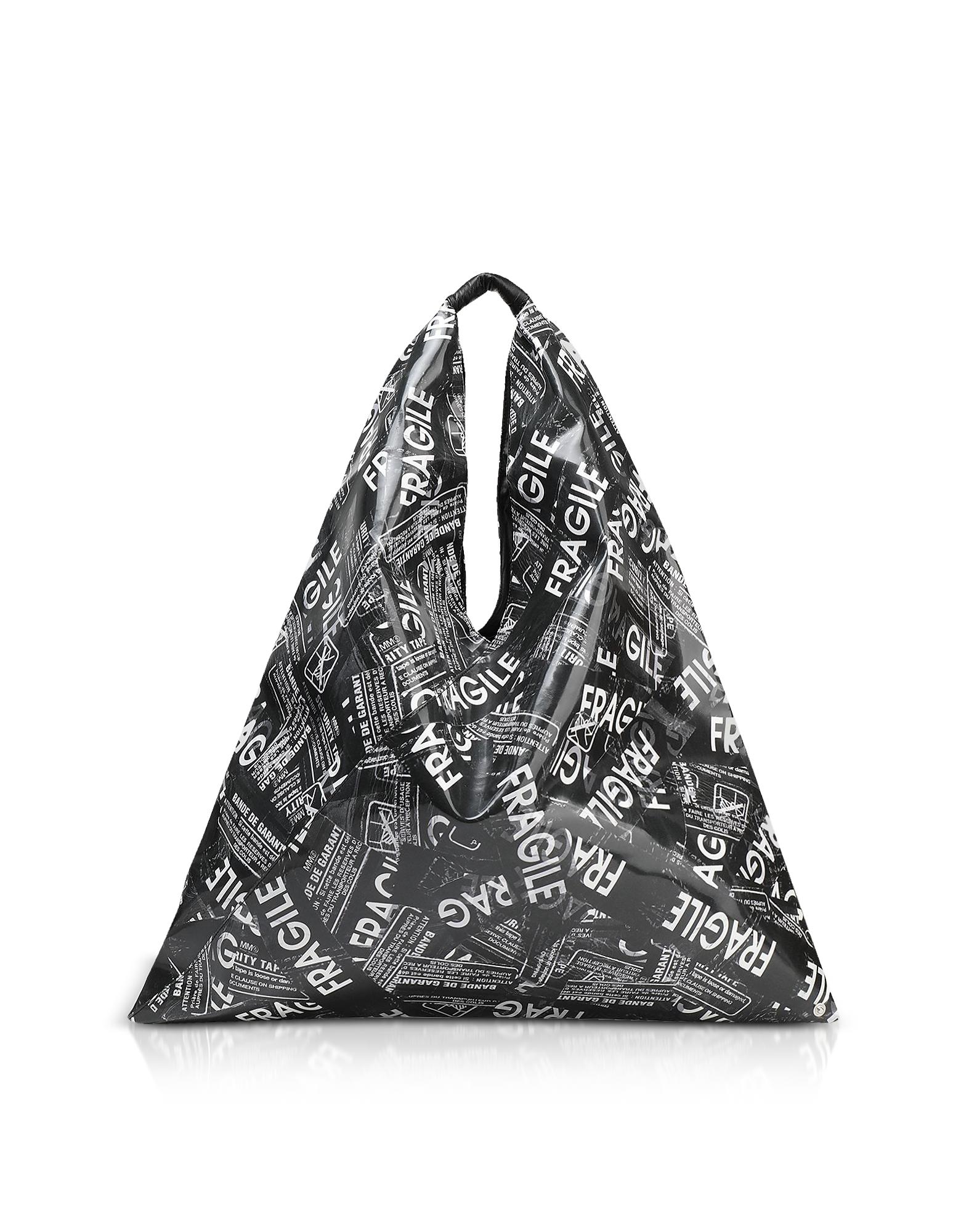 Image of MM6 Maison Martin Margiela Designer Handbags, Fragile Printed Japanese Tote Bag