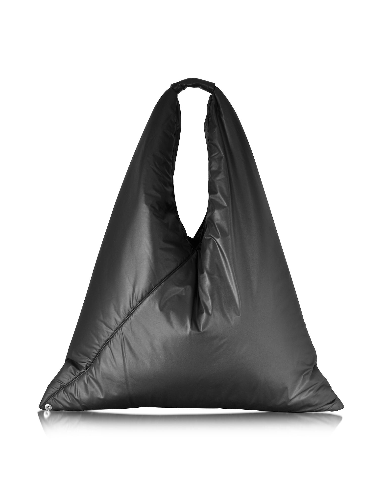 Pufft - Черная Объемная Нейлоновая Треугольная Сумка на Плечо