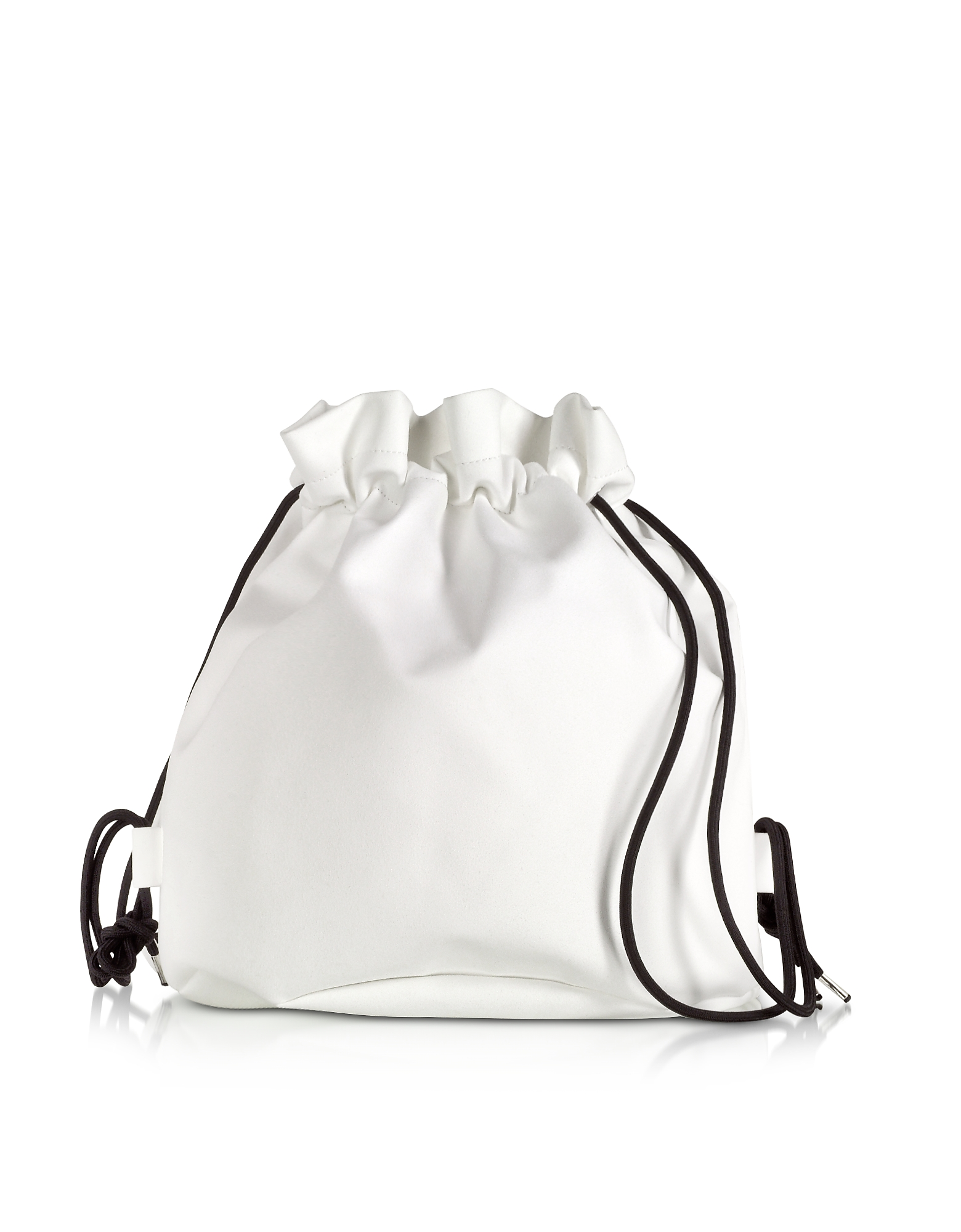 MM6 Maison Martin Margiela Designer Handbags, White Drawstring Backpack w/ Metal Handle