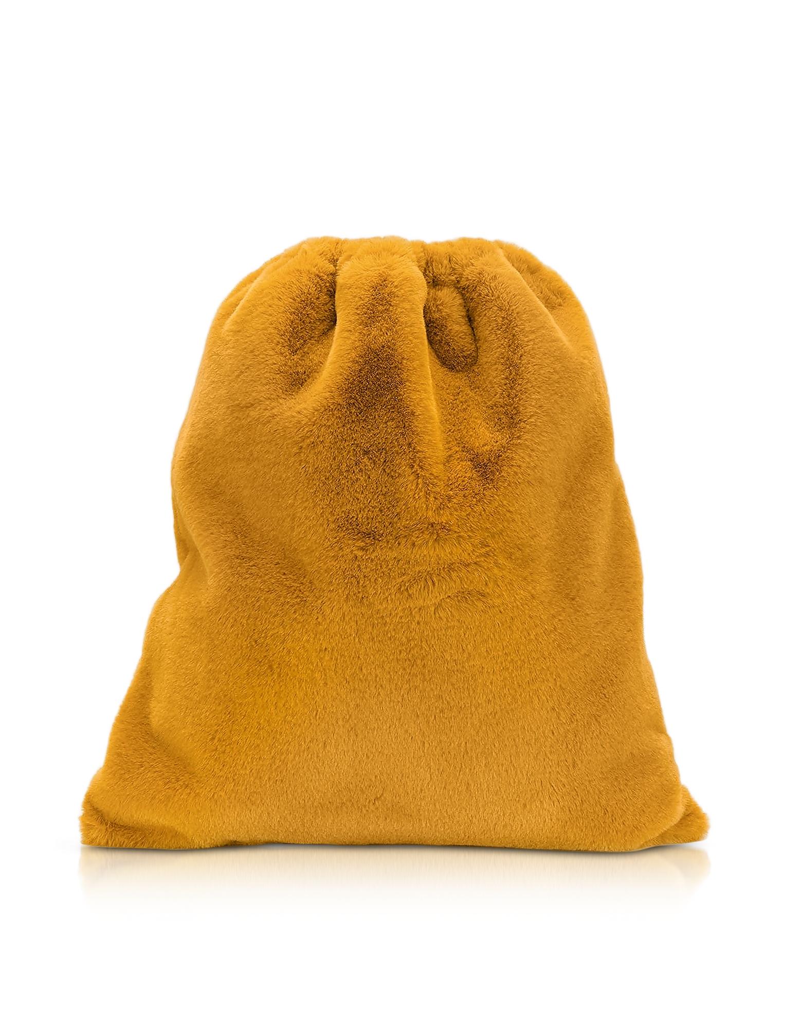 MM6 Maison Martin Margiela Designer Handbags, Fresia Yellow Furry Drawstring Backpack