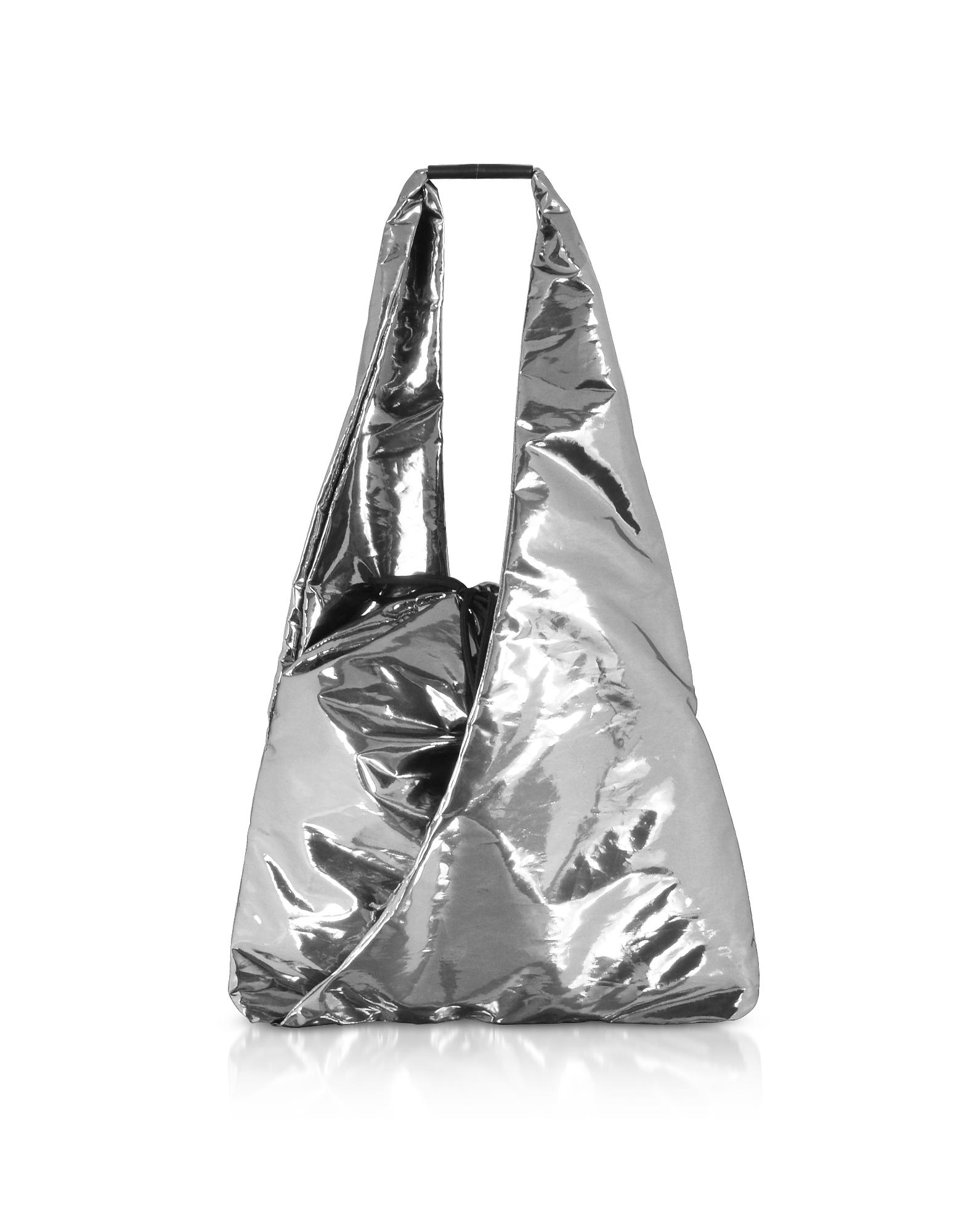 MM6 Maison Martin Margiela Designer Handbags, Metallic Japanese Bucket Bag