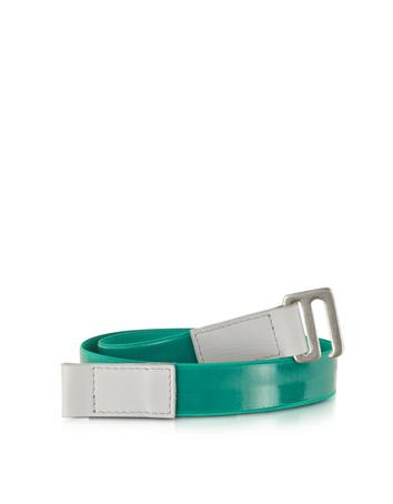 Green Fabric and Leather Belt
