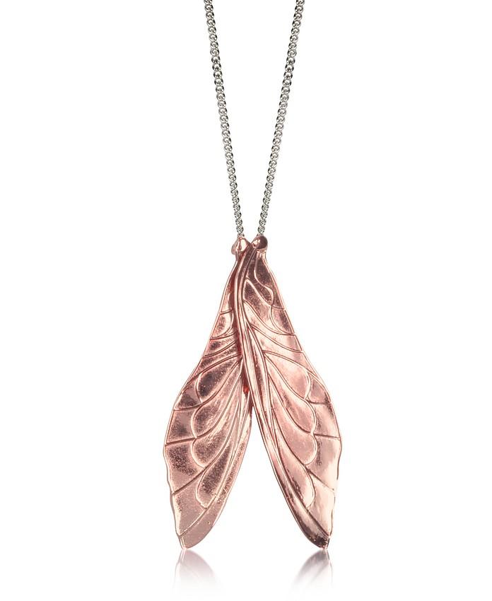 Pink Brass Pendant Necklace w/Wings - MM6 Maison Martin Margiela