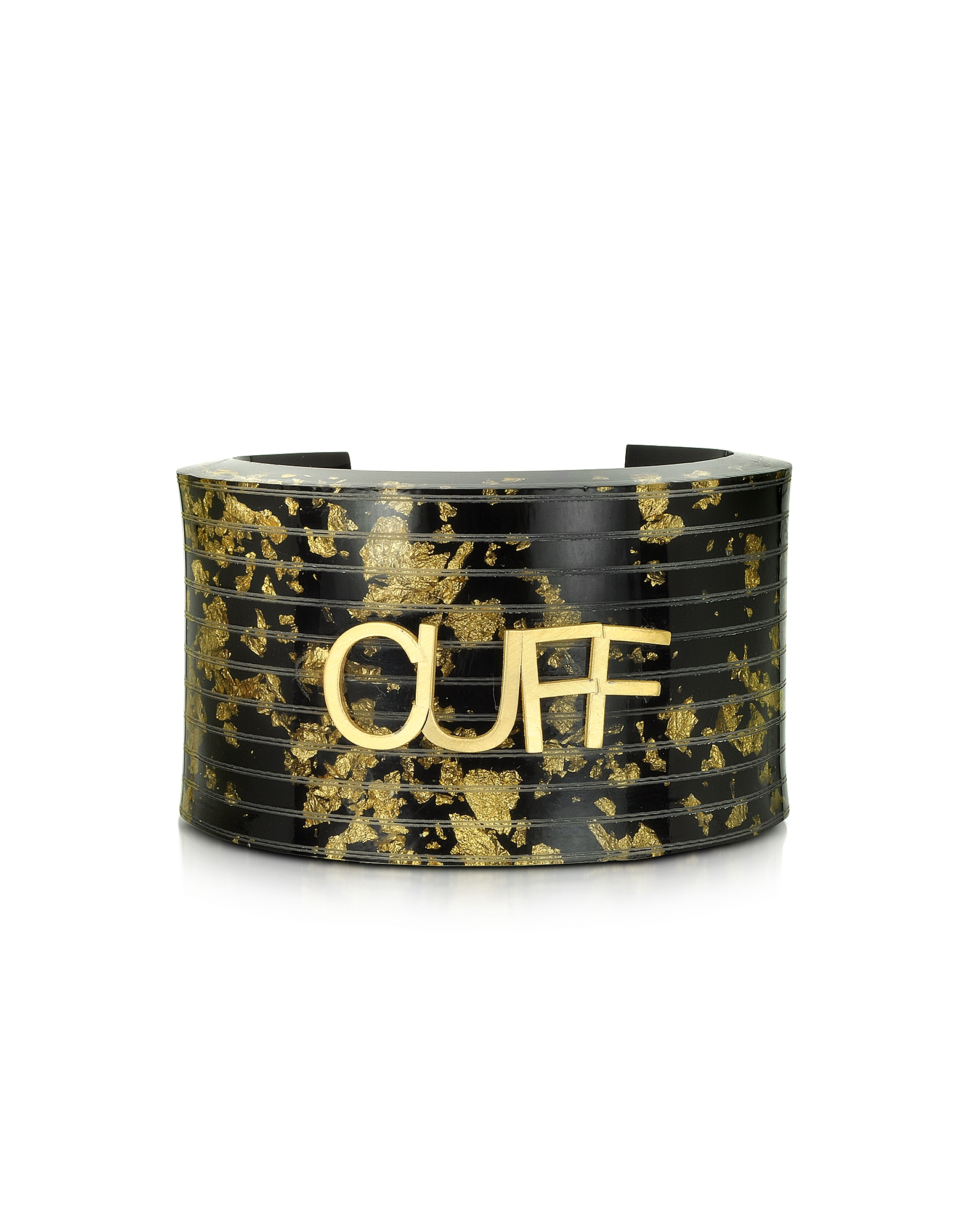 MM6 Maison Martin Margiela Bracelets, Black & Gold Resin Cuff