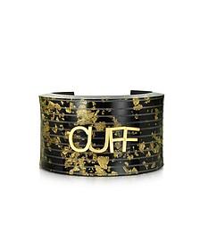 Manschetten-Armband in schwarz und gold - MM6 Maison Martin Margiela