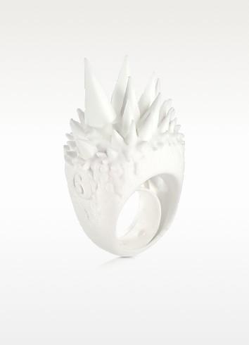 White Polyamide Ring w/Studs - MM6 Maison Martin Margiela