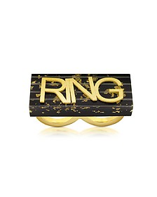 Ring in schwarz und gold - MM6 Maison Martin Margiela