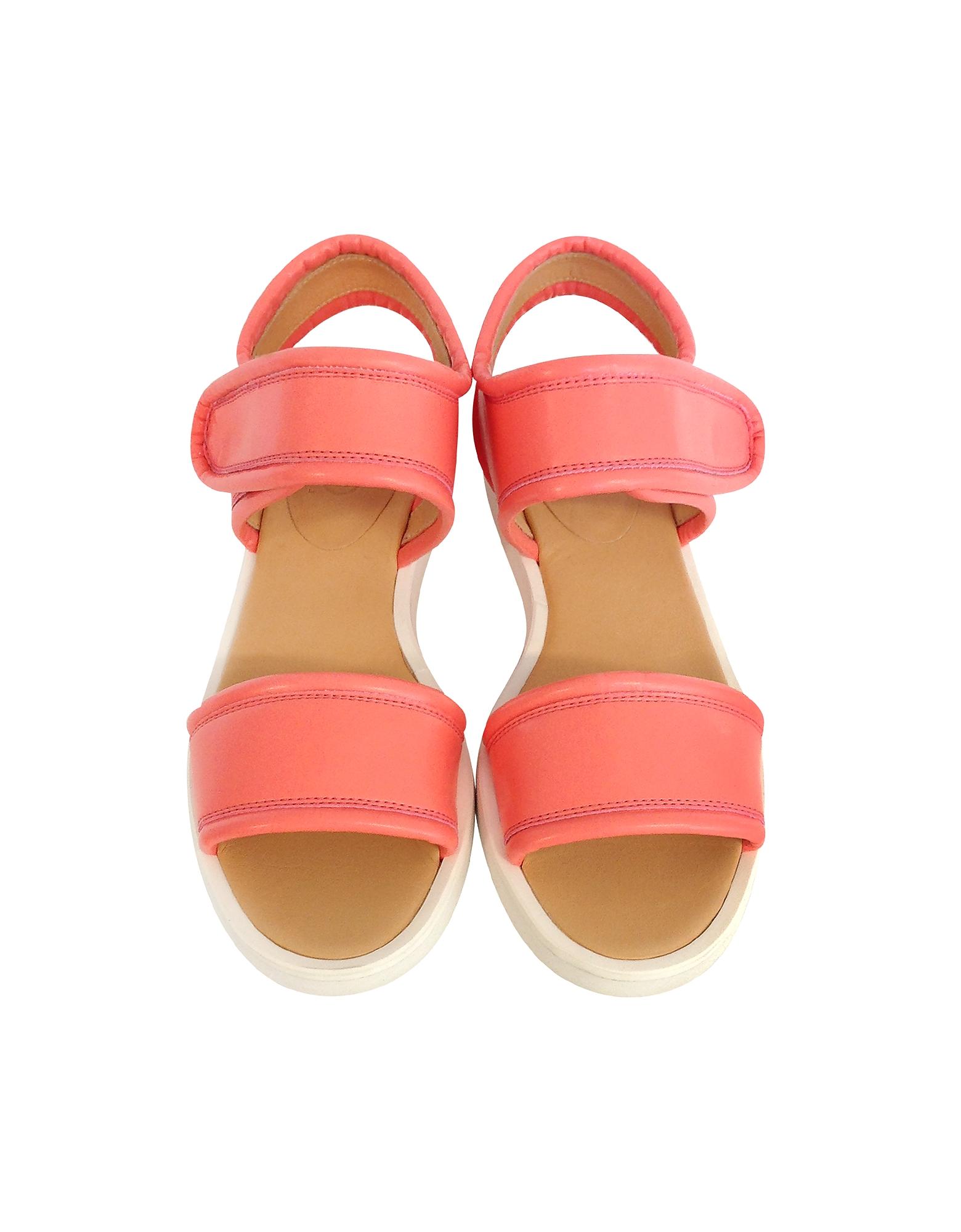 Salmon Pink Eco Leather Flat Sandal от Forzieri.com INT