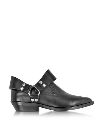 Black Leather Low Top Bootie