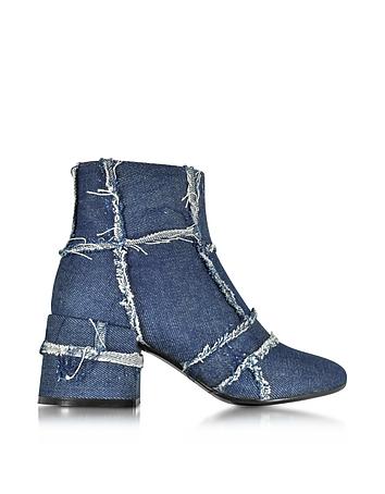 Denim Blue Mid Heel Bootie