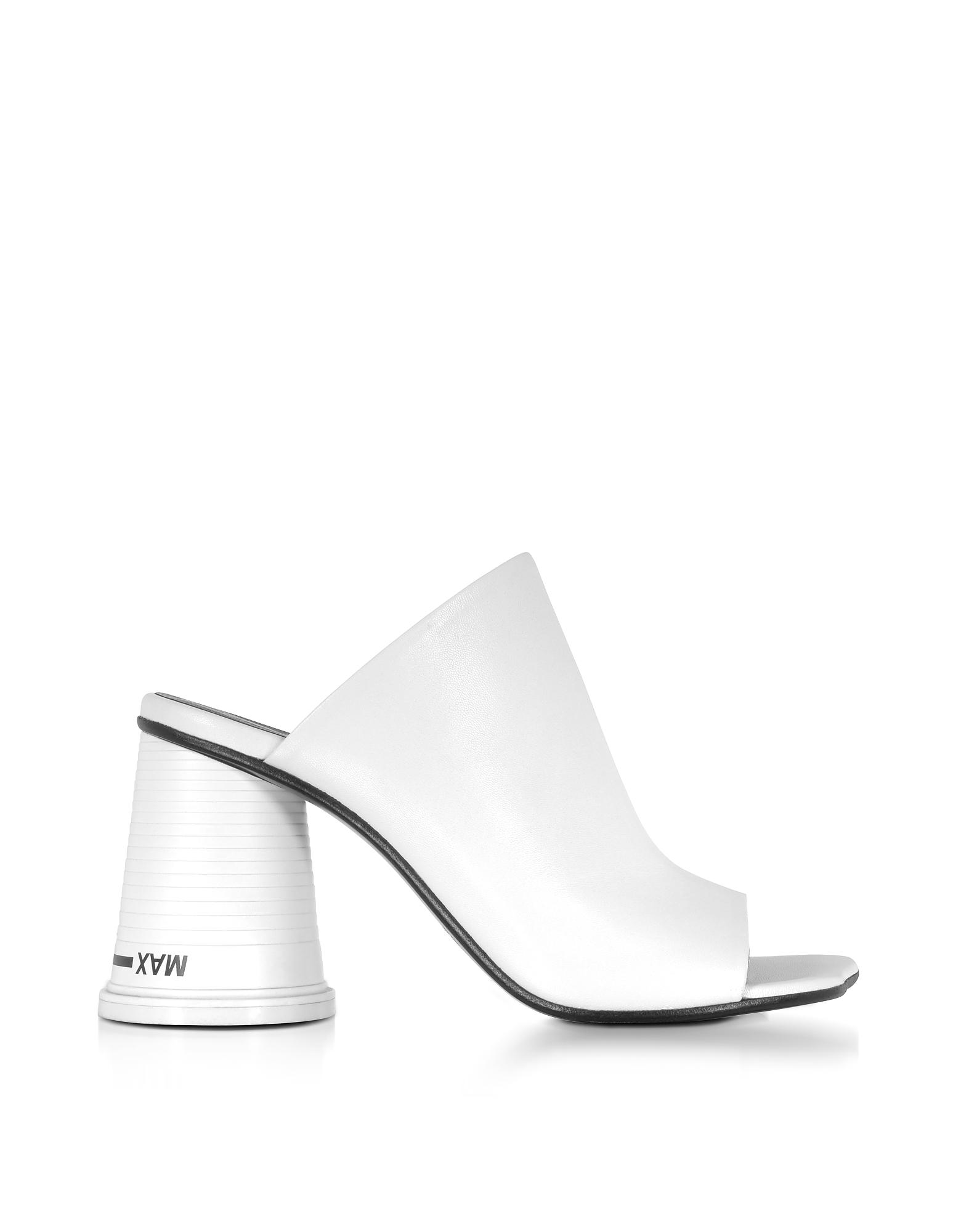 Sandali in Pelle Bianco Ottico con Tacco Cup