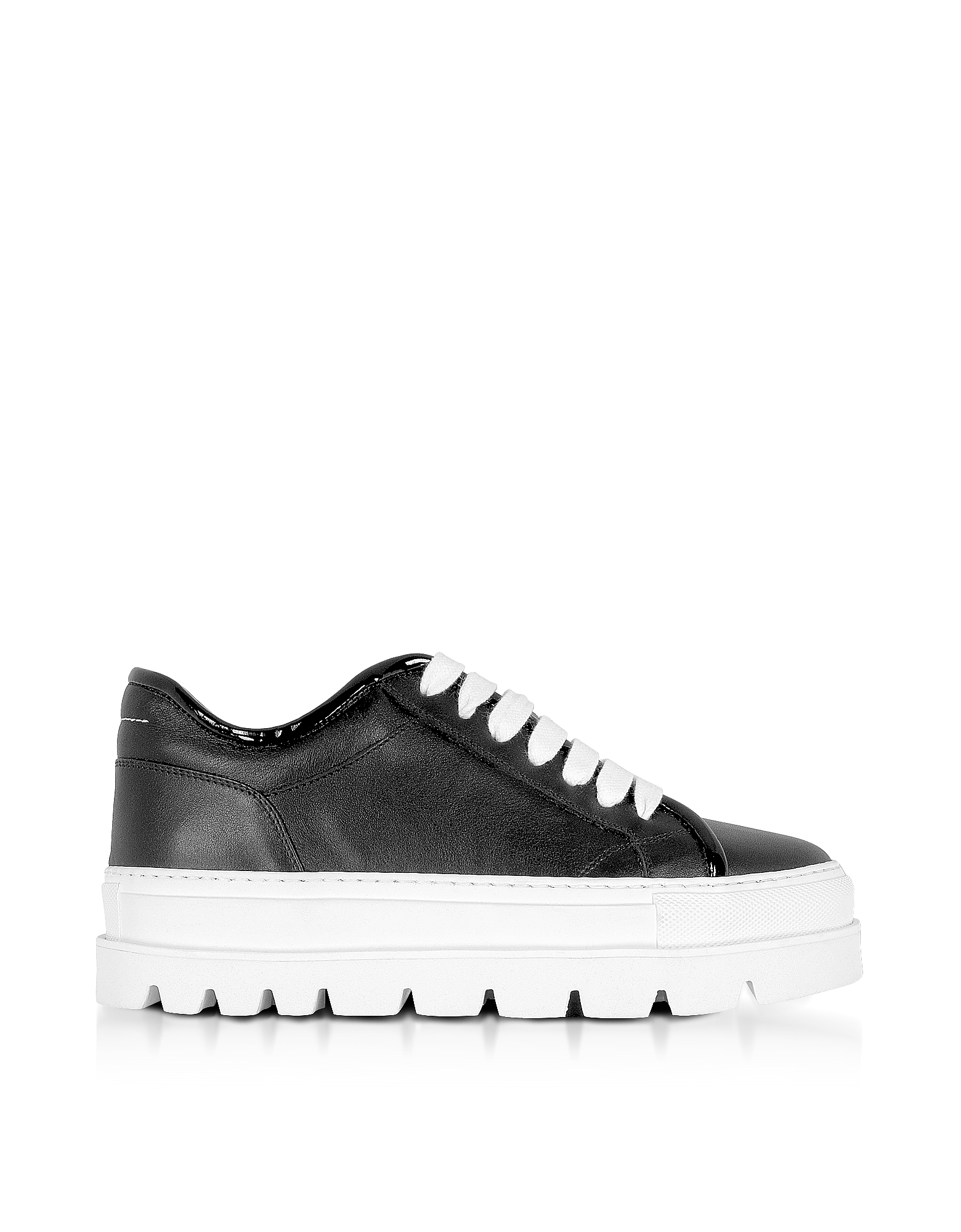 Sneakers Flatform in Pelle Nera