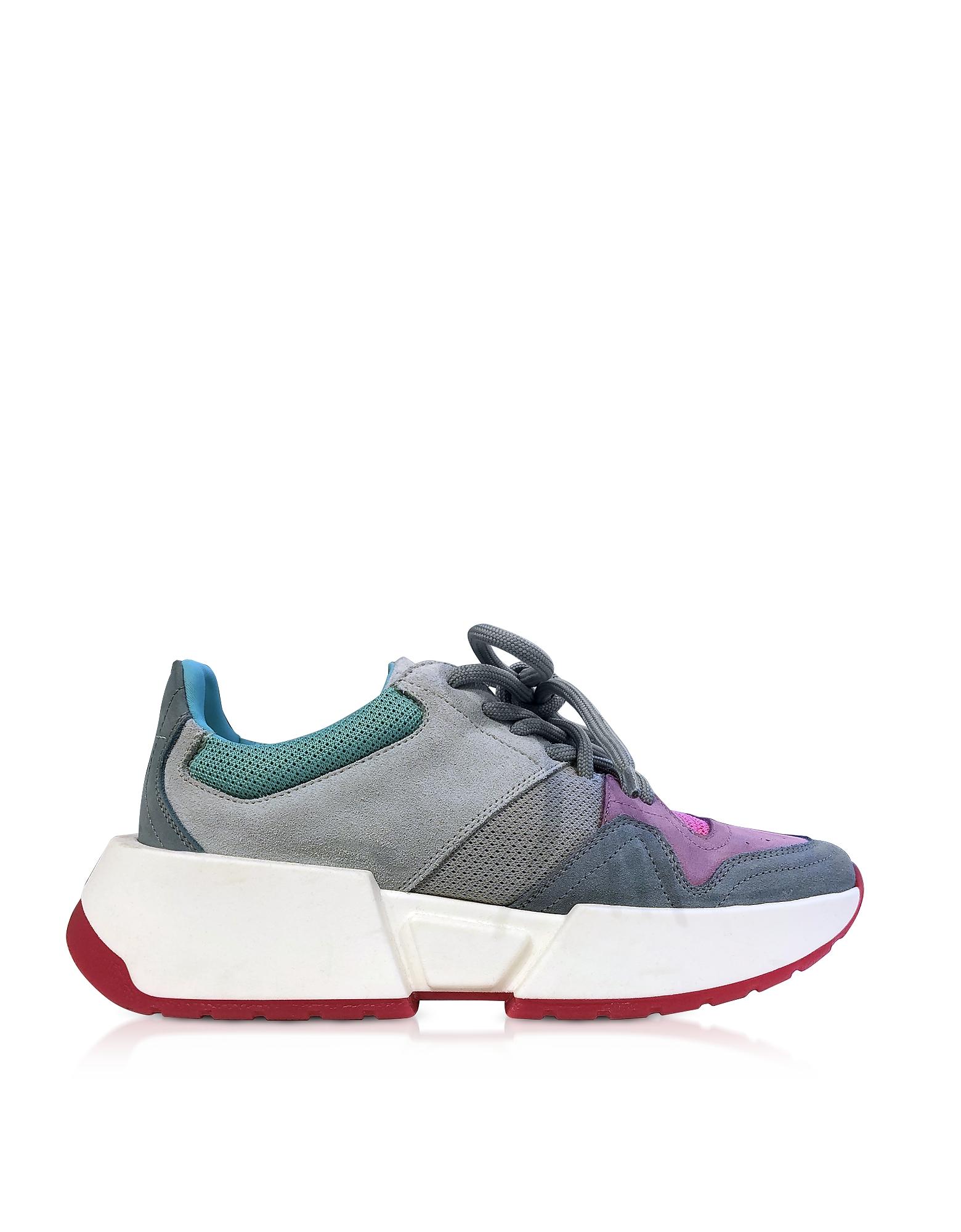 Color Block Mesh and Nabuk Sneakers