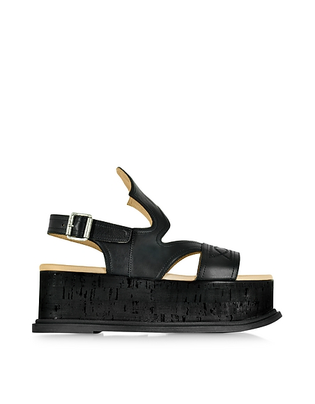 Foto MM6 Maison Martin Margiela Sandalo Cowboy in Pelle Nera Cut Out Scarpe
