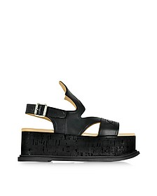 Black Leather Platform Sandal - MM6 Maison Martin Margiela