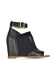 Black Leather Wedge Sandal w/Ankle Wrap - MM6 Maison Martin Margiela