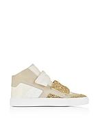 MM6 Maison Martin Margiela Sneaker Donna High Top in Pelle e Suede con Glitter Oro - mm6 maison martin margiela - it.forzieri.com