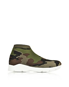 Camouflage Stretch-Mesh High-Top Women's Sneaker - MM6 Maison Martin Margiela