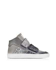 Sneaker mit Glitter aus Wildleder in grau - MM6 Maison Martin Margiela