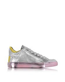 Sneakers Basses Femme en Cuir Métallisé Argent et Rose - MM6 Maison Martin Margiela