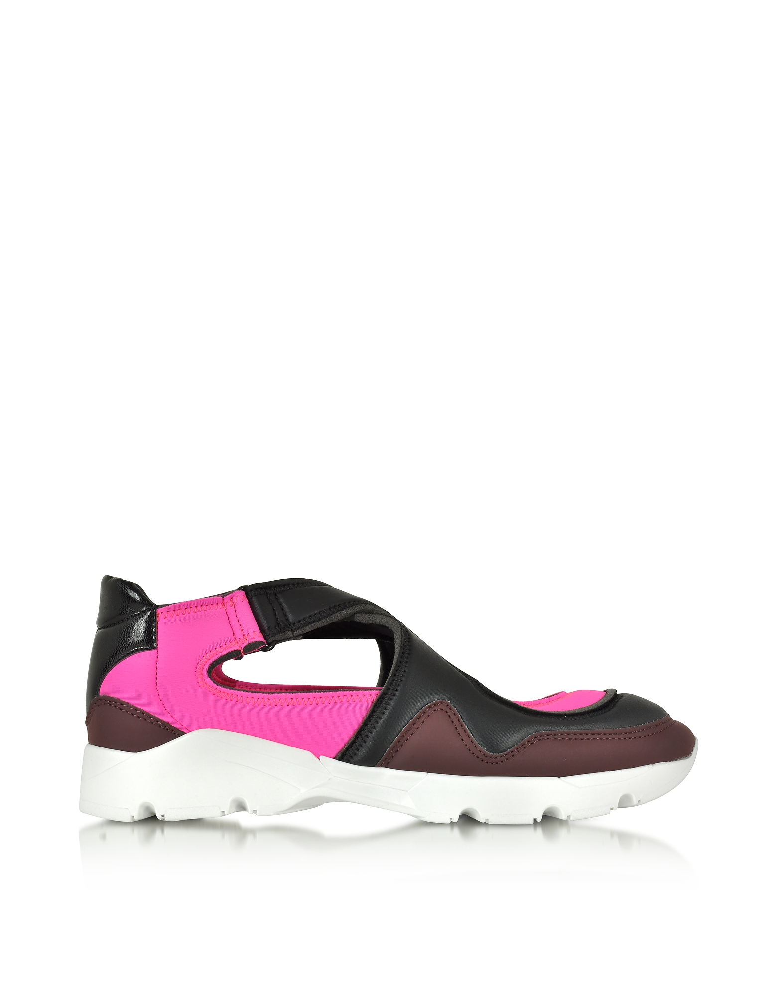 MM6 Maison Martin Margiela Shoes, Color Block Nylon and Leather Sneakers